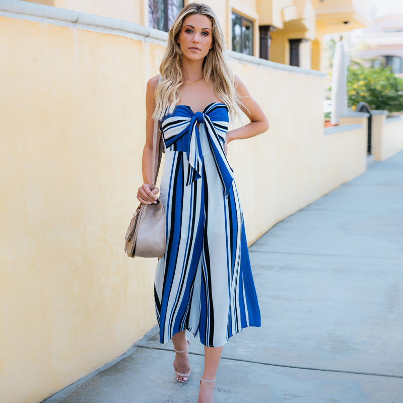 5361d865e43 Striped Bandage Strapless Wide Leg Romper Women Jumpsuits for Women 2018  Summer Casual Sleeveless One Piece Jumpsuit Capris Pant