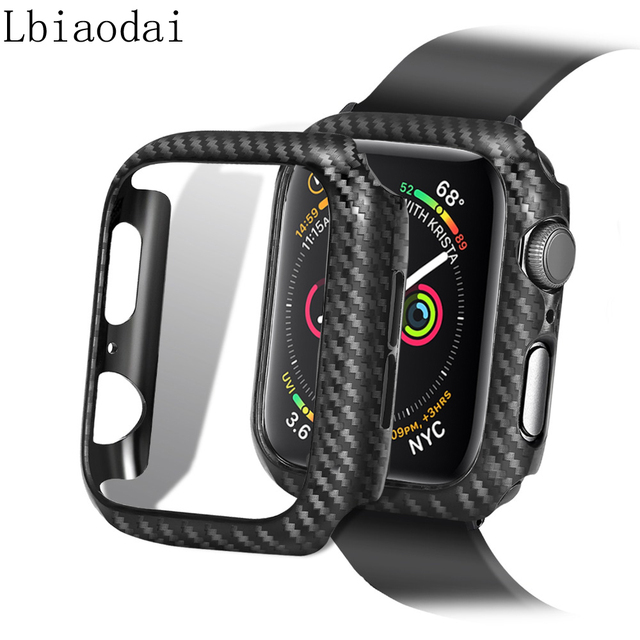 the latest dbb39 9983c US $1.89 40% OFF|Carbon Watch Case For Apple Watch 4 band 44mm 42mm iwatch  case 4/3/2/1 series 38mm 40mm Frame Protective cover watch Accessories-in  ...