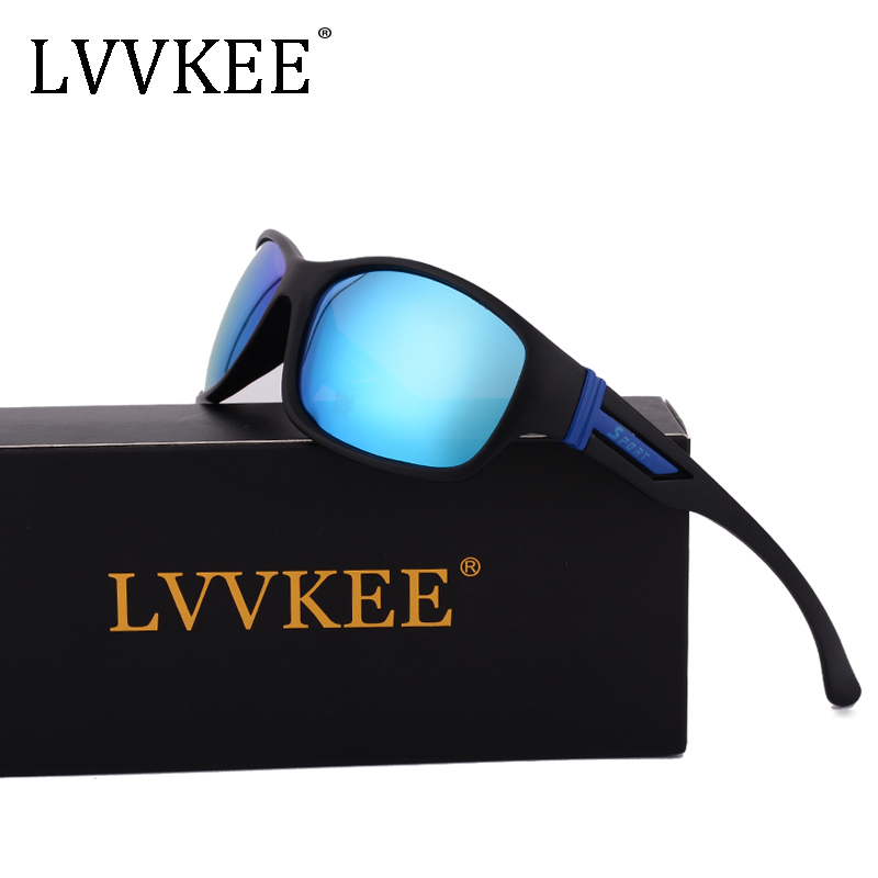 LVVKEE Brand Fashion men women polarized sunglasses Mirror oculos Gafas Driving car sport logo blue Mirror blue red UV400