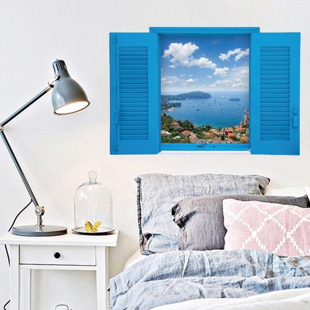 Wall Decorations Blue 3d Fake Window Mediterranean Sea Landscape Vinyl  Stickers Home Living Room Bedroom Bathroom Art Wallpaper