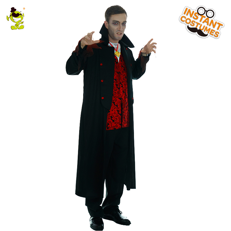 Men's Black Gothic Vampire Costume Cosplay Scary Vampire Halloween Carnival Party Costumes Role Play Vampire For Adult Men