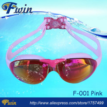 Fashionable cool comfortable pink women anti fog wide vision swim goggles UV400 swimming eyewear
