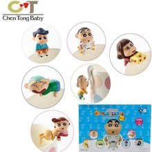 Set de 6 unidades de copa de crayon Shin chan japonesa, llanta de PVC, modelo de figura de acción, muñecos de 43% a 5cm con caja de venta al por menor WJ01, 2,5
