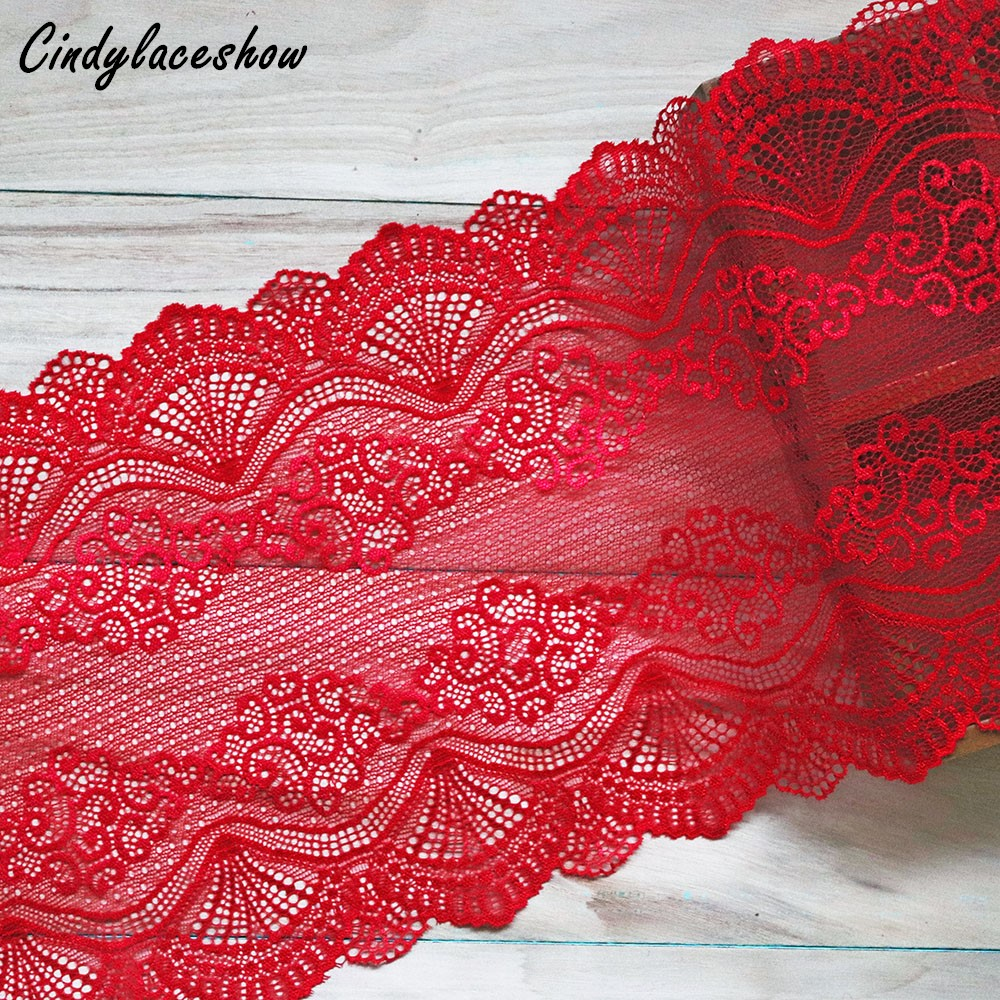 Lace Home & Garden Knowledgeable 1yard 22.5cm Width Red Vintage Hair Decoration Wide Elastic Stretch Lace Trim Wedding Dress Skirt Underwear Lace Trims Fabric Refreshment