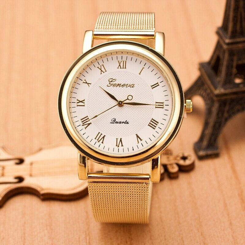 2018 Duobla Fasion Gold Casual Quartz Watch Women Dress Watches Womens Roman Numerals Quartz Stainless Steel Wrist Watch #T
