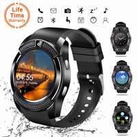 Reloj de pulsera con pantalla táctil V8 SmartWatch Bluetooth con cámara/ranura para tarjeta SIM, reloj inteligente impermeable DZ09 X6 del M2 A1