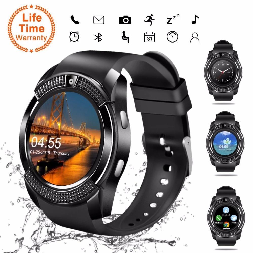 V8 smartwatch bluetooth tela sensível ao toque relógio de pulso com câmera/slot para cartão sim, impermeável relógio inteligente dz09 x6 vs m2 a1