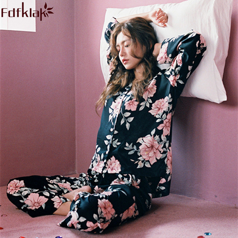 Fdfklak 2018 Spring Autumn Faux Silk Pyjamas Women Night Suit For Girls Pajamas Long Sleeve Pijamas Mujer Home Clothes Q865