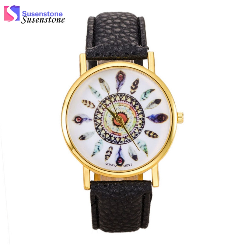Wavors Hot Sale Women Watch Dream Catcher Printed Dial Clock Analog Quartz Watch PU Leather Bracelet Watches Relogio Feminino fantastic 2016 hot sale leaf pendant bracelet leather chain alarm clock analog quartz movement wristwatches free shipping jun 28