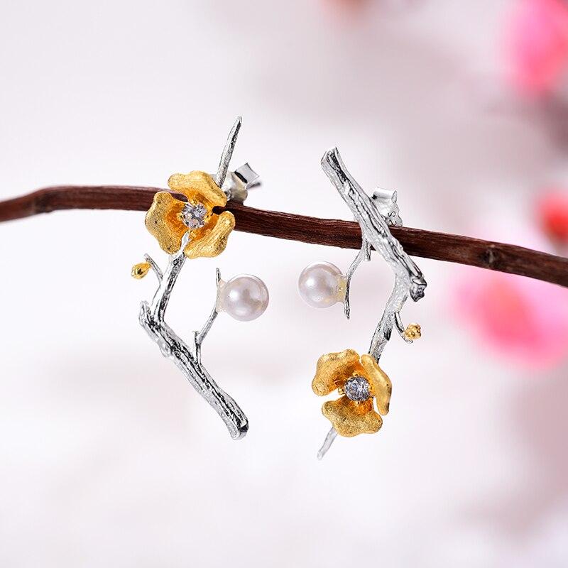 Lotus Fun Real 925 Plata de Ley diseñador hecho a mano joyería fina delicado flor de ciruelo conjunto de joyas para mujeres-in Conjuntos de joyería from Joyería y accesorios    3