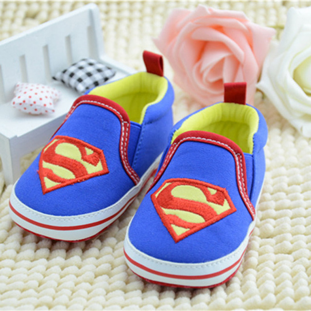 Superman Handmade Soft Bottom Toddler Fashion Winne Baby Newborn First Walkers  Crib Striped Shoes Prewalkers First Walker T0188