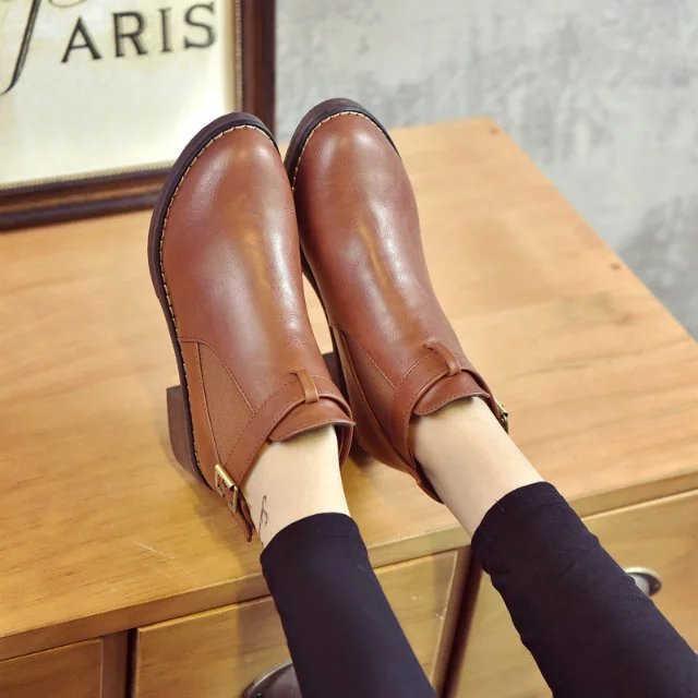 Kadın yarım çizmeler 2018 Sonbahar Kadın rahat ayakkabılar Kadın Düz Moda Platformu Yuvarlak Ayak Toka Kayış Katı Rahat