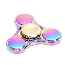 Rainbow Brass Tri-Spinner Fidget Spinner Hand Spinner Ceramic Bearing Rotation Time Long Anti Stress Toys Focus Gyroscope Toy