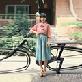 Vintage Fashion Chiffon Skit Slim A Line Tee Length Skirt With Lining Summer Style Thin Pleated Skirts Women