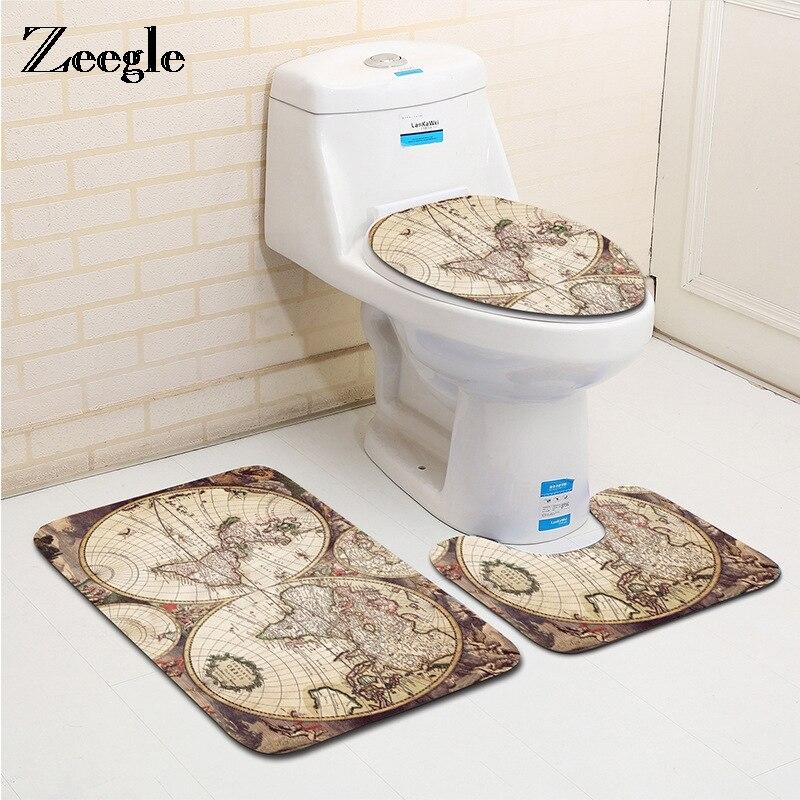 3PCS Bathroom Non-Slip Pedestal Rug Carpet Toilet Lid Cover Bath Mat 3D Elephant