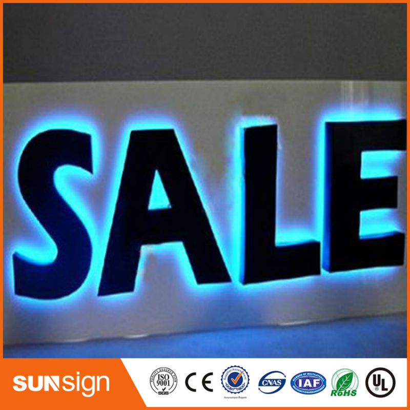 Sale Sign Black Painted Stainless Steel Led Backlit Channel Letters