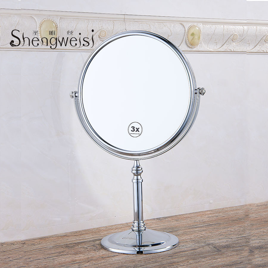 Bath Mirrors 8 Inch Round Mirror Table Magnifying Mirrors Makeup Cosmetic Black Double Side Brass Mirror for Bathroom F free shipping 9wall mounted round 3x 1x magnifying bathroom mirror led makeup cosmetic mirror lady s private mirror bm003