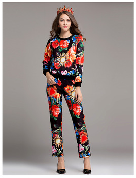 Clearance sale 52.99USD for the leisure suits XL size floral print pantsuits Big clearance sale E682 clearance купить в москве