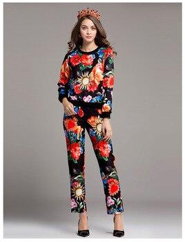 Clearance sale 55USD for the leisure suits XL size floral print pantsuits Big clearance sale E682