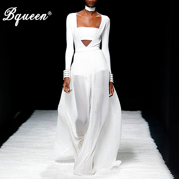 Bqueen 2017 New Arrival Celebrity Style White Cross Long Sleeve Bandage Women Bodysuit With Chiffon Maxi Skirt