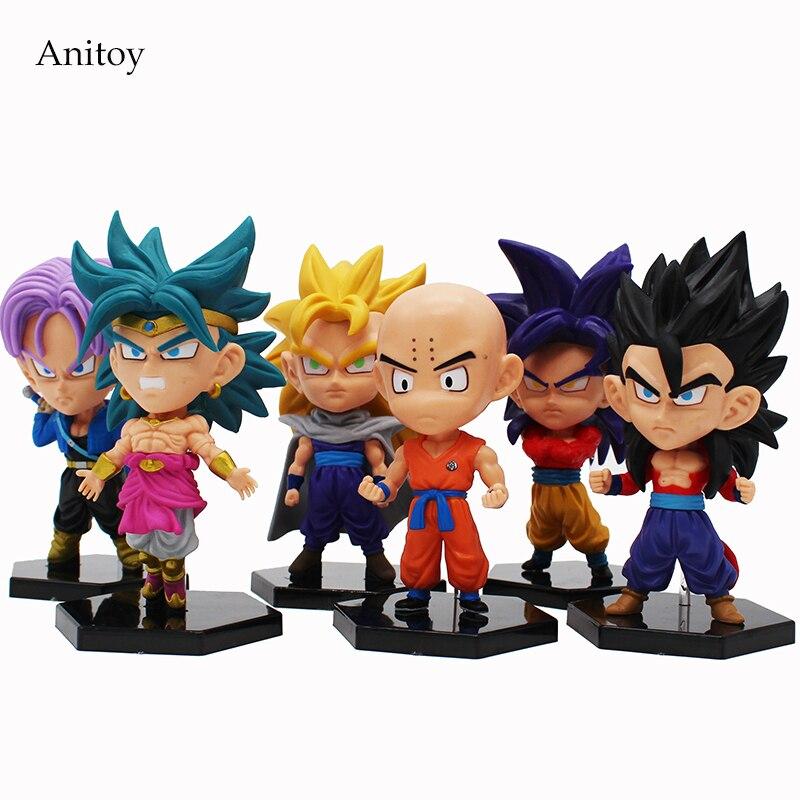где купить 6 pcs/set Dragon Ball GT Super Saiyan Son Goku Son Gohan Krillin Trunks Broli PVC Figures Collectible Model Toys 11~13cm KT4208 по лучшей цене