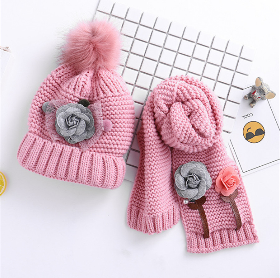 Yyun Children's Cute Flower Scarf Hat Set Girls Soft Thickened Pom Pom Beanie And Scarf Set Kids Winter Scarf Hat Kit 2pcs