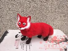 simulation fox model large 35x22cm,polyethylene & furs red fox toy model decoration gift t462