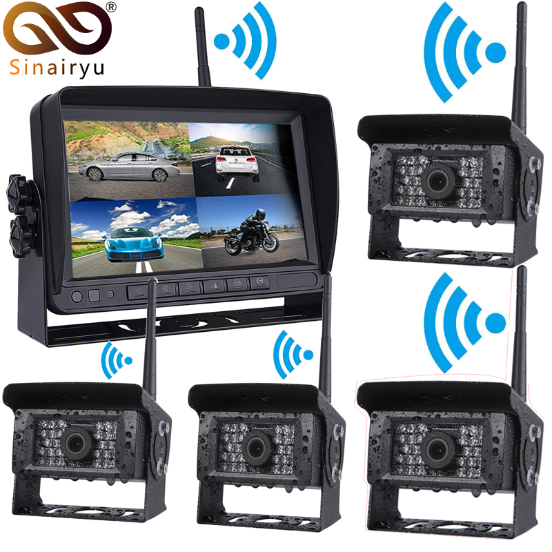 Sinairyu Wireless Truck Camera 4 Split Screen Kit Vehicle Rear View Camera + 7