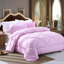 New Hot warm fashion comforters solid pink quilt twin full queen king bedding spring autumn soft duvet High Quality Home textile(China)