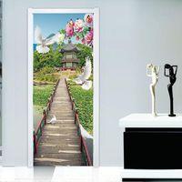 3D Vivid Garden path Door Wallpaper DIY Mural Bedroom Living room Wall Stickers Home Decor Poster PVC Waterproof 77x200cm