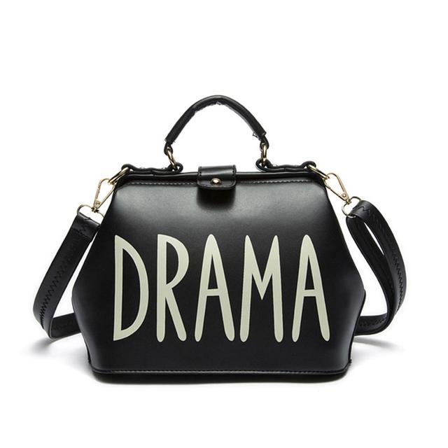 Bolsos de diseño de alta calidad bolsas de asa superior DRAMA 2017 pequeña bolsa de hombro femenino del bolso del doctor de cuero de LA PU de Oro Plata negro