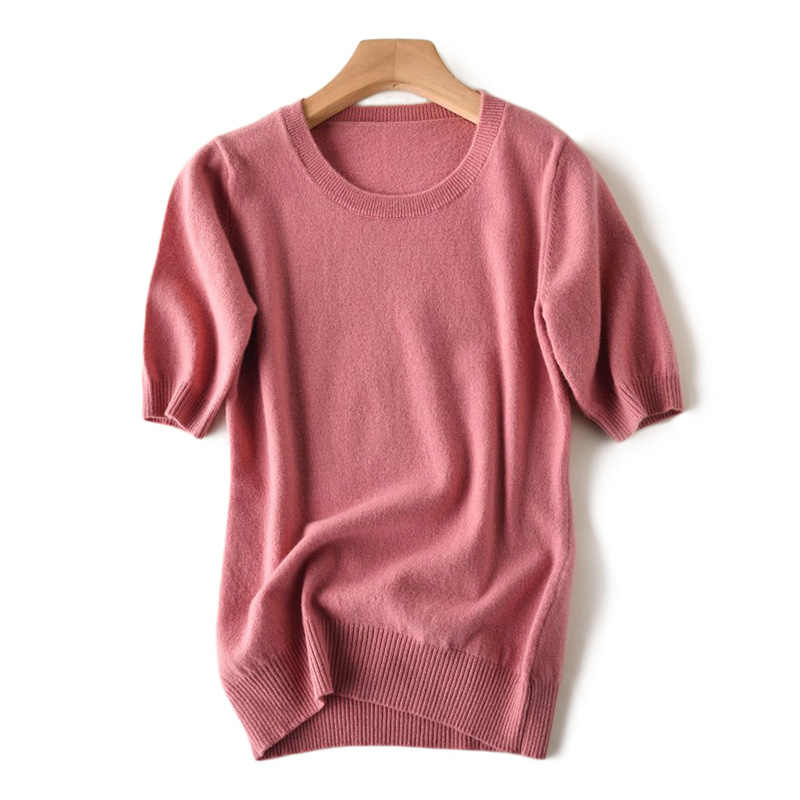 High-end vrouwen 100% Wollen Tshirt Femme O-hals Korte Mouwen Gebreide Trui Base Tee Trui Pure Merino Jumper zomer Herfst