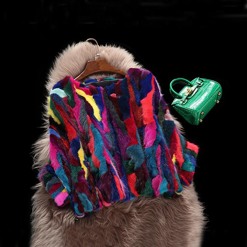 100% Real Mink Fur Coat Special Design Natural Mix Multi Colors Mink Fur Jacket Overcoat KSR81