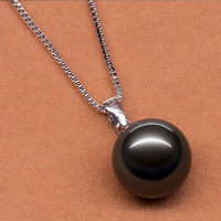 10 11mm Genuine Natural Black Tahitian Pearl Pendent Necklace with 14 K White Solid Gold Chain and Bail