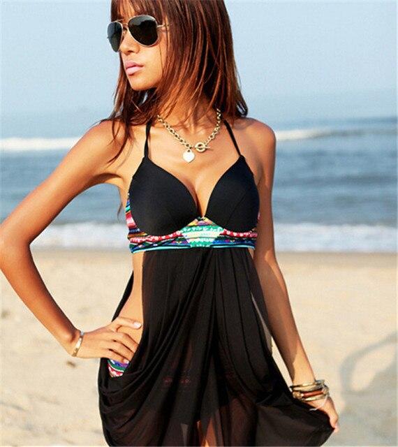 ba2570df64cd3 YE14300 Free swimsuit plus size swimwear women padded boho fringe bandeau  fringe halter topone piece swimsuit plus size women