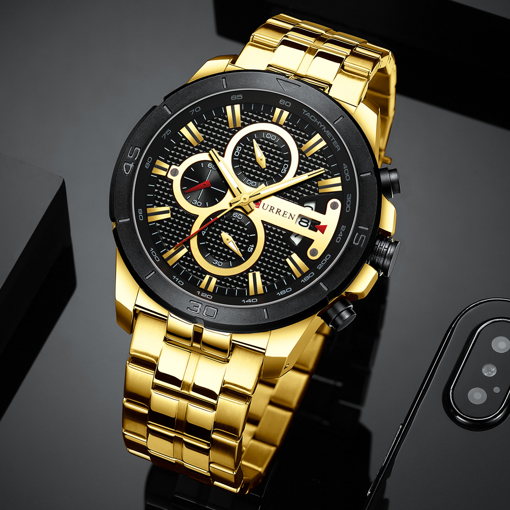 CURREN Business Men Watch Luxury Brand Stainless Steel Wrist Watch Chronograph Army Military Quartz Watches Relogio Masculino