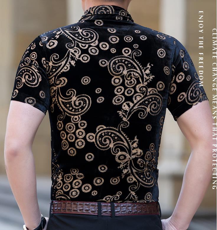 Mens Silk Shirts Black Velvet Shirts Casual Short Sleeve Sexy