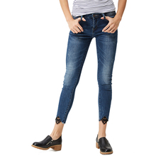 Women High waist jeans Spring Autumn Skinny Fashion Casual Female Ripped Jeans Denim Lace Pencil Pants WNK-3296