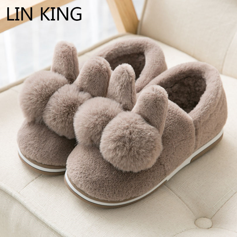 цена на LIN KING New Rabbit Ear Indoor Floor Slippers Unisex Women Men Warm Plush Home Shoes Anti Skid Winter House Bedroom Cotton Shoes