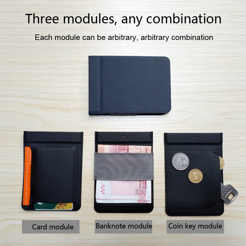Cool design portability wallets magnet modular carteira detachable Card Holder Wallet Men Credit Card Bag Multifunction Purse