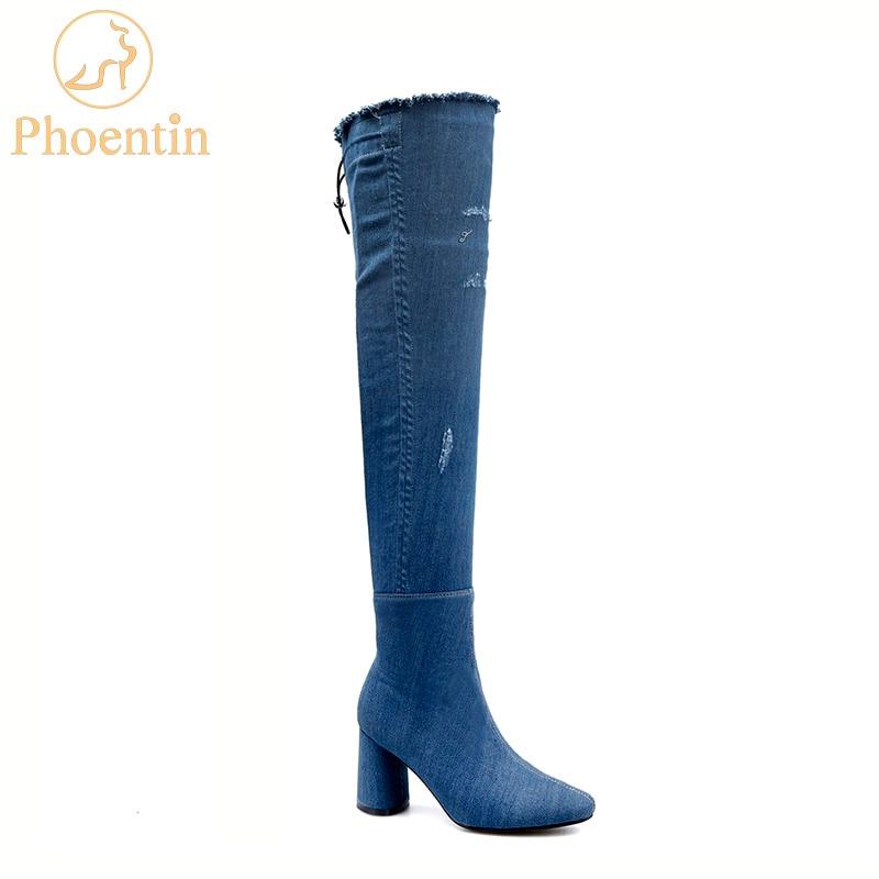 Phoentin overknee denim boots with zipper round toe thigh high boots fow women ruffles high heel shoes woman sewing jeans FT446