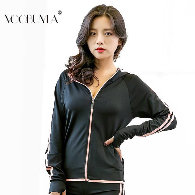 Voobuyla Для женщин с капюшоном куртка для бега отверстие для большого пальца куртка для йоги куртка на молнии Фитнес Костюмы Топ спортивный спортивная одежда для тренажерного зала Толстовка