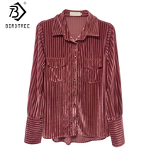 2018 Autumn New Arrival Women's Shirt Sweet Corduroy Full Sleeve Turn-down Collar Korean Style Tops Elegance Hot Sale T80426Q