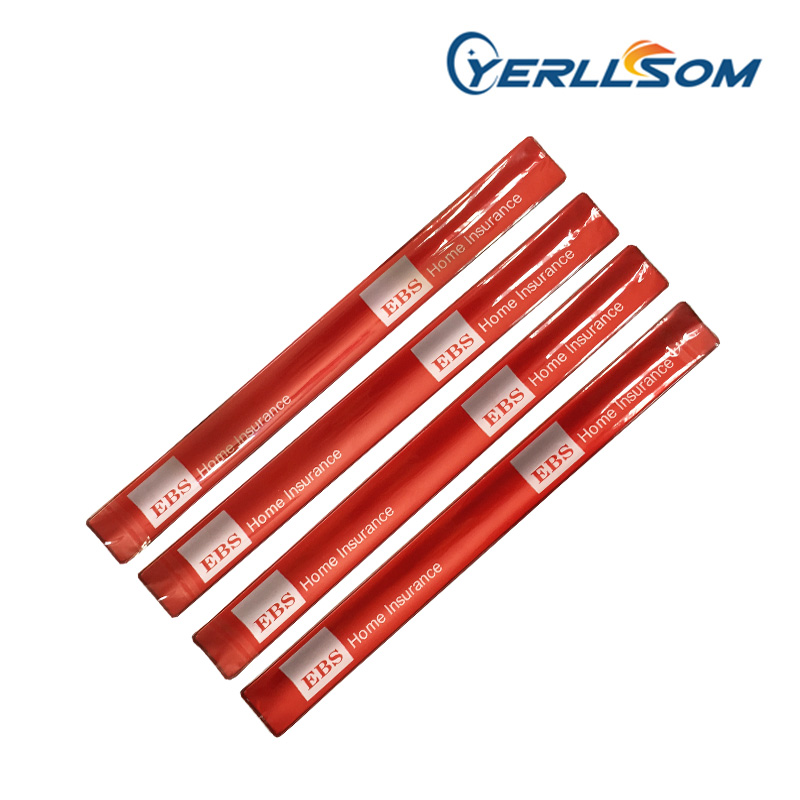 YERLLSOM 3 34cm 700pcs Lot Hot Selling Printed 1 color logo Slap Reflective Bracelets custom writing