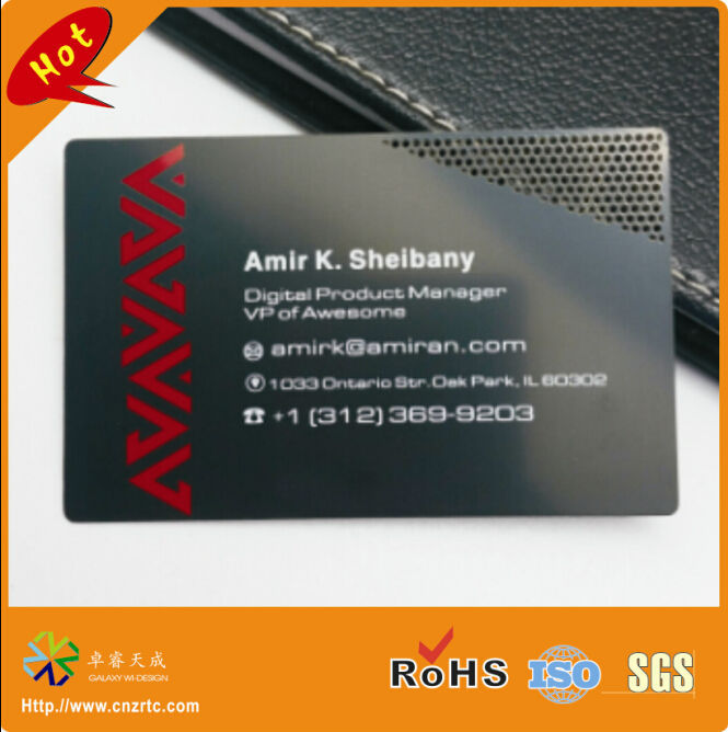 Brushed Metal Business Card 3 Matte Black
