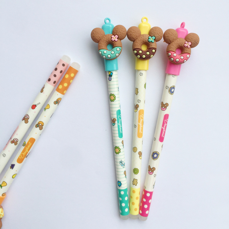 30 Pcs Cute Bear Gel Pen Donuts Cookie 0.5mm Roller Ball Blue Color Pens Stationery Office School Supplies Canetas Escolar A6440
