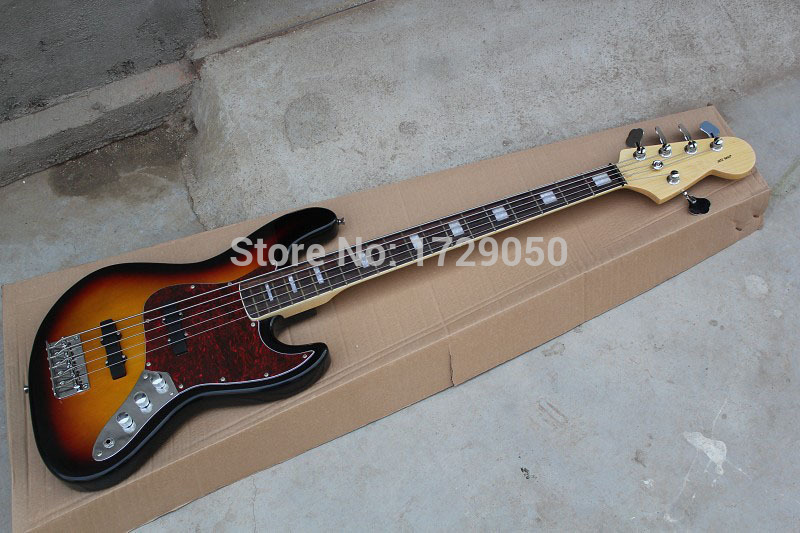Free Shipping top quality factory custom 100% new 5 strings bass guitar Sunburst  guitar jazz Electric bass Guitar  11 12 free shipping chinese factory custom 2015 100