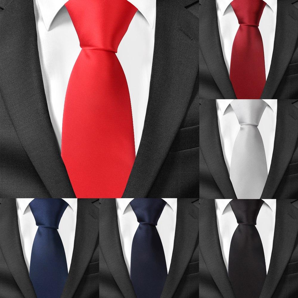 Classic Satin Neck Ties For Men Casual Suits Tie Gravatas Solid Black Mens Neckties For Business 7.5 Cm Width Wedding Men Ties