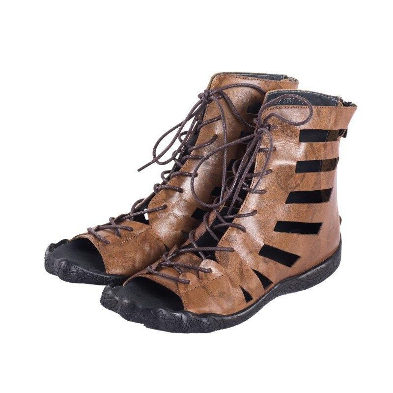 e92e5f65453c ... 65k22 British sandals tie cool Original embossed women cross boots flat  handmade summer shoes flat leather ...