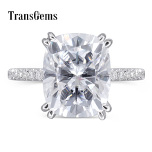 Transgems Moissanite Ring Center 4ct 8X10MM FG Color Cushion Moissanite Diamond Gold Engagement Ring for Women 14K 585 White